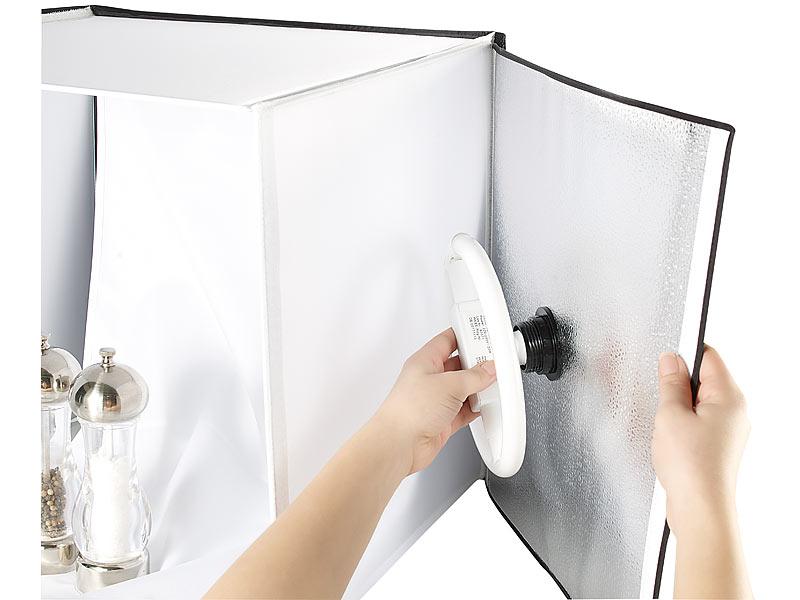 somikon professionelle foto studio box inkl 2 fotolampen und stativ. Black Bedroom Furniture Sets. Home Design Ideas