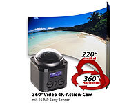 Somikon 360°-4K-Action-Cam mit 16-MP-Sony-Sensor, 24 fps, Fernb., wasserd.IP68