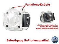 Somikon Kamera-Unterwassergehäuse für 360°-Action-Cam DV-1936.WiFi, IPX8; Action-Cams Full HD Action-Cams Full HD