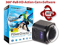 Somikon 360°-4K-ActionCam, 16-MP-Sensor, Fernbed. & PowerDirector 15 Ultra