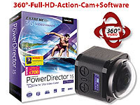 Somikon 360°-4K-ActionCam, 16-MP-Sensor, Fernbed. & PowerDirector 15 Ultimate