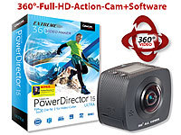 Somikon 360°-Full-HD-Action-Cam mit 2 Objektiven & PowerDirector 15 Ultra