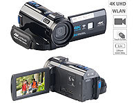 Somikon 4K-UHD-Camcorder mit Panasonic-Sensor, WLAN, App, HD mit 120 B/Sek.; Action-Cams HD Action-Cams HD Action-Cams HD Action-Cams HD