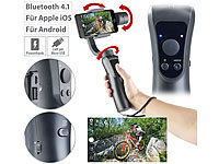 Somikon 3-Achsen-Hand-Stabilisator für Smartphones, Bluetooth, Objekt-Tracking; UHD-Action-Cams UHD-Action-Cams UHD-Action-Cams UHD-Action-Cams